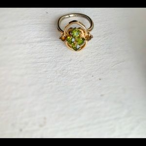 Sarah Coventry peridot and amber ring
